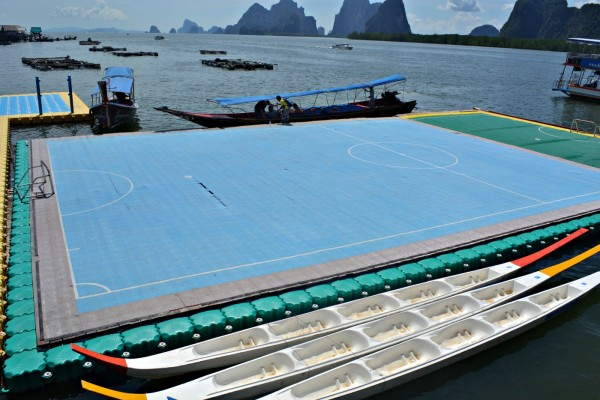 Floating footbal field