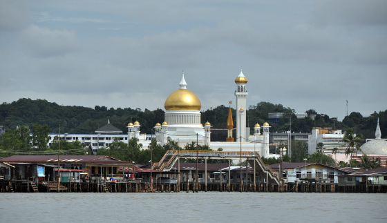 The Sultan Omar Ali Saifuddin mosque, also known as the floating mosque
