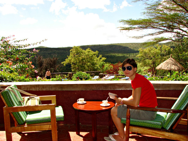 Morning coffee in Masai Mara park in Kenya