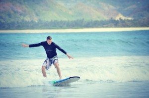 Surfing at Selong Belanak, Lombok